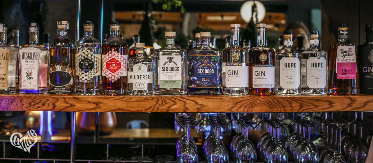 A selection of local and international craft gins